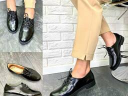 Туфли женские кожаные черный рабат классические