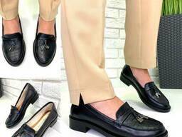 Туфли женские кожаные черные без каблука