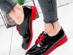 Туфли женские Wings черный + красный лак 1802 лак