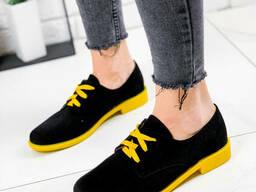 Туфли женские Wings черный + желтый 1801 замша