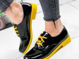 Туфли женские Wings черный + желтый лак 1800 лак