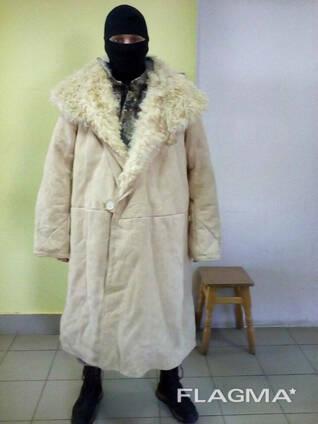 Тулуп постовой натуральный мех СССР черный, белый