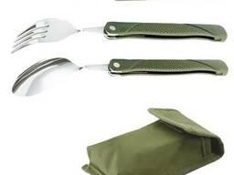 Туристический походный набор Lesko 3в1 нож/вилка/ложка. ..