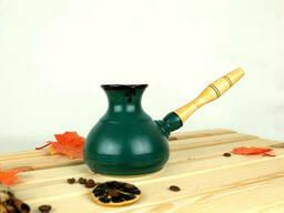 Турка Зеленая керамическая с деревянной ручкой 350 мл + рассекатель