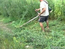 Уберем участок огород от сорняков порослей пней покос травы