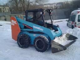 Уборка снега мини погрузчиком