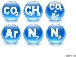 Углекислота, кислород, аргон, mix-1, азот жидкий, гелий