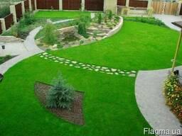 Укладка искусственных газонов. Укладка тротуарной плиткии