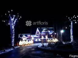 Украшение дома на новый год, иллюминация, оформление фасада,