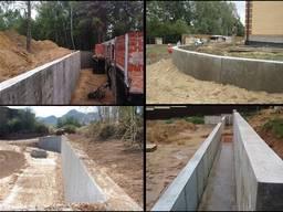 Укрепление склонов, строительство подпорных стен.