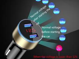 USB автомобильное зарядное устройство в авто, вольтметр, амп