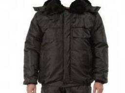"""Утепленная куртка """"Охрана""""мужская черного цвета,плащевая"""