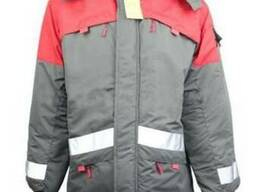 """Утепленная куртка сигнальная, серо\красного цвета """"Волк"""""""