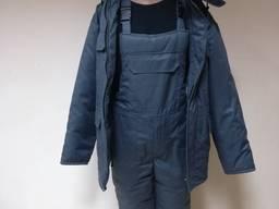 Утепленный рабочий костюм серый с полукомбинезоном