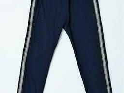 Утепленные трикотажные лосины для девочки темно-синего цвета 146