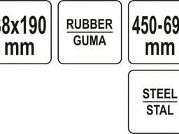 Валик притискний гумовий YATO : Ø38 x 190 мм, сталева телескопічна ручка L= 450-690 мм