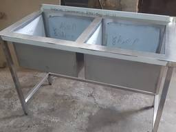 Ванна мийна 2х-секційна промислова з нержавійки 1100х600х850