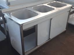 Ванна моечная 3х-секционная штампованная из нержавейки