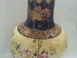 Ваза керамическая синяя с цветами 42 см Китай