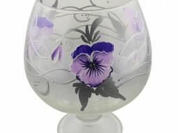 Ваза стеклянная ручной работы Фиолетовые цветы (Бокал. ..