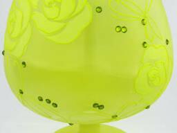Ваза стеклянная ручной работы Салатовые цветы (Бокал. ..
