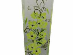 Ваза стеклянная ручной работы Салатовые цветы (Квадратный. ..