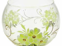 Ваза стеклянная ручной работы Салатовые цветы (Шарик. ..