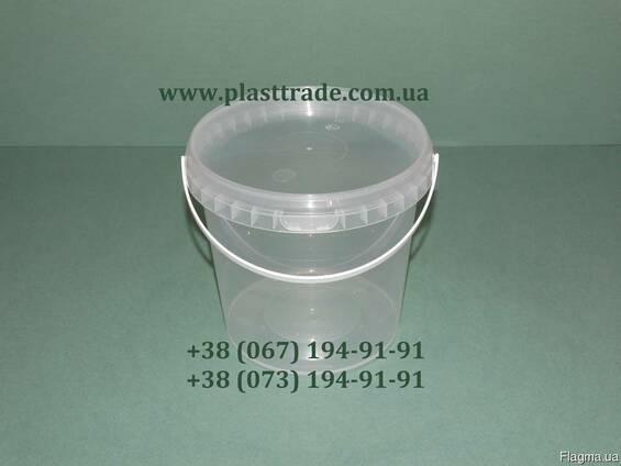 Ведро 1 литр пластиковое пищевое.