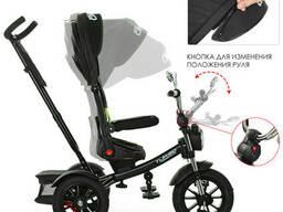 Велосипед M 4056HA-20 три кол. резина (12/10), колясочн, поворот, муз, черный, зеленые ремни