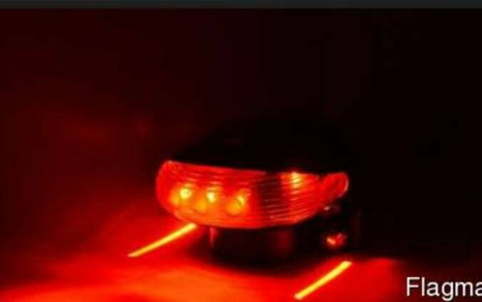 Велосипедный задний стоп фонарь с лазером 5 Led красный
