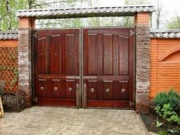 """Въездные деревянные ворота с калиткой """"Классик"""""""
