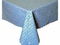 Вологостійка скатертина з акриловим покриттям Simfoni 136х136см Синій вензель SKL58-252187