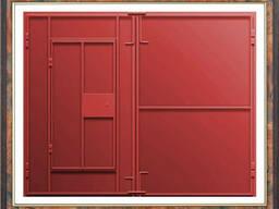 Ворота для гаража из листового металла. Гаражные ворота металлические. Калитка в гараж