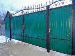 Ворота из профнастила с элементами ковки - фото 1