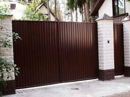 Ворота из профнастила с элементами ковки - фото 2