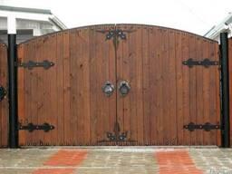 Распашные деревянные ворота Код: ВК-14 Под заказ