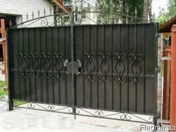 Ворота металлические распашные для дачи