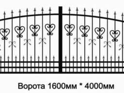 Ворота распашные металлические с кованными элементами