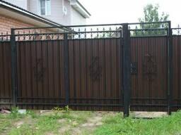Ворота с калиткой из профлиста - фото 2