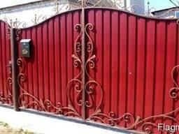 Ворота с калиткой из профлиста - фото 3
