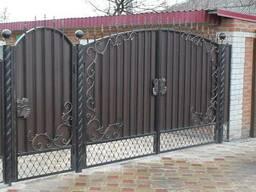 Ворота с калиткой из профлиста - фото 8