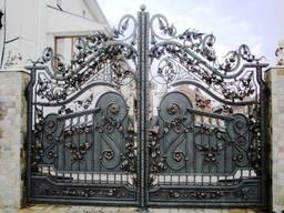 Ворота в Кривом Роге из профлиста, кованые, гаражные. Навесы