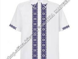 Вышиванка для мальчика Рубашка белая с темно-синим орнаментом 155-165 см 4107
