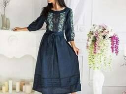 Вышиванка, Шикарные платья с вышивкой, лен, платье, миди