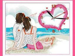 """Вышивка крестиком. Идейка """"Часы. Любовь у моря"""" 40х34см (G099)"""