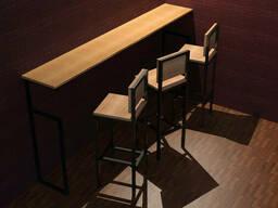 Высокий барный стул для кафе из дерева и металла