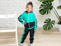 Яркий детский велюровый спортивный костюм мятный с серым 9-12 лет