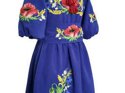 Яркое праздничное вышитое платье для девочки с цветочной вышивкой Електрик(синій)