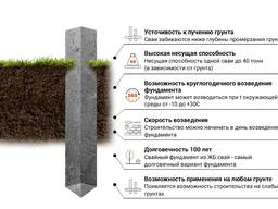 Забивные сваи с ростверком 150х 200х и 300х сечений.