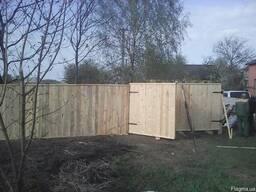 Забор деревянный с установкой под ключ с неокрашенным щитом